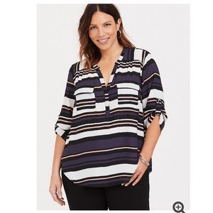 Torrid Harper Striped Georgette Blouse